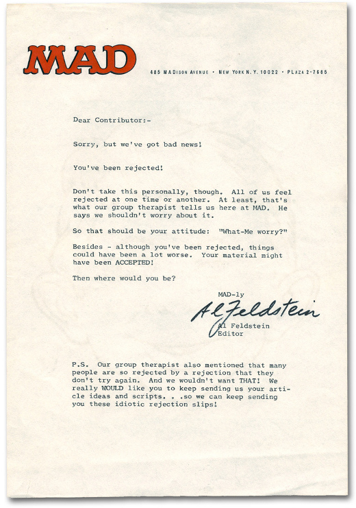 A MAD Magazine Rejection Letter
