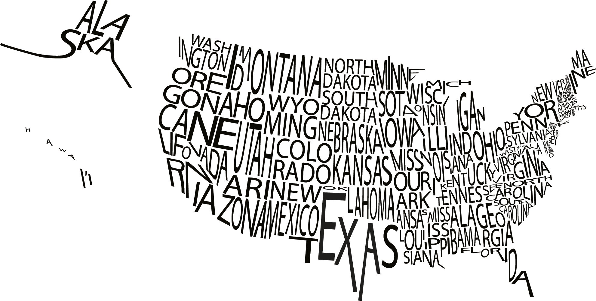 A Typographic Map of the US The Mary Sue