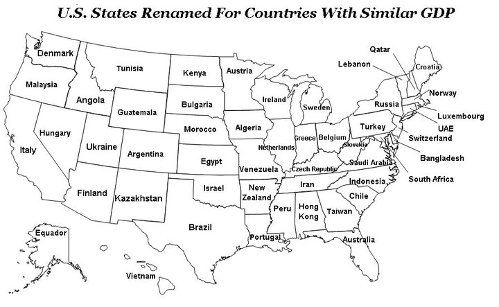 U.S. States Renamed for Countries with Similar GDPs | The Mary Sue