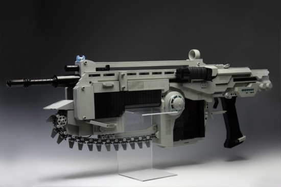 Lego gears of war lancer fires rubber bands, has working lego chainsaw