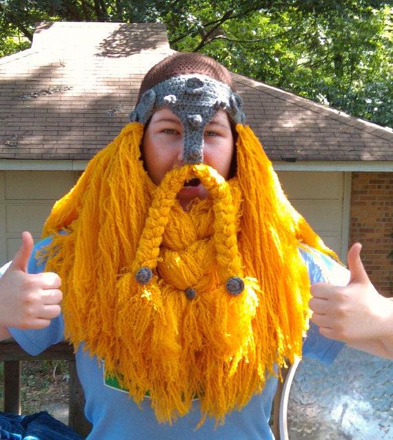 Crochet Dwarf Beard Hat Pattern : Crocheted Viking and Dwarf Beard Helmets are Perfect for ...