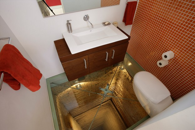 HyperVocal. Penthouse Bathroom Atop a See Through 15 Story Elevator Shaft