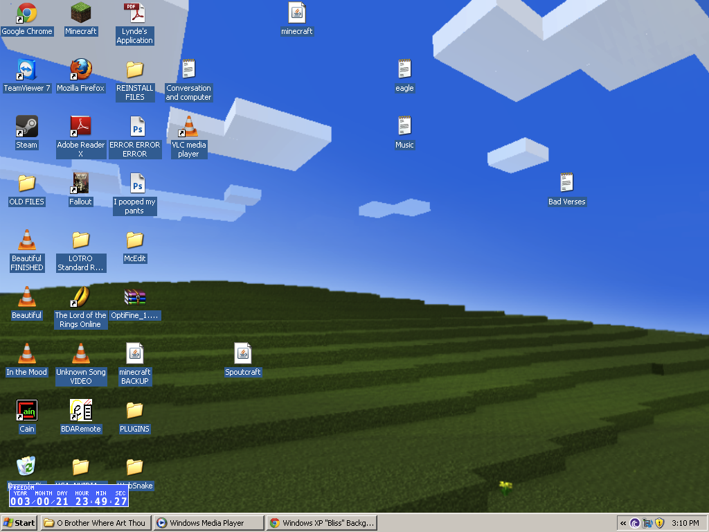 Windows XP Bliss Desktop Background Recreated In Minecraft