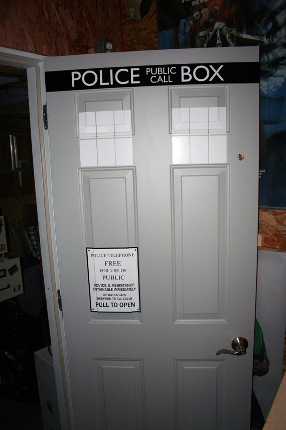 good looking doctor who tardis door decal.  thrilled that your door doesn t have the proper handle or placement it s obviously time to build a new instead of just not get TARDIS decals Turn Your Front Door Into With This Vinyl Decal