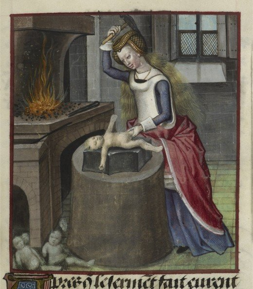 Medieval Painting of Woman Hammering Baby   The Mary Sue