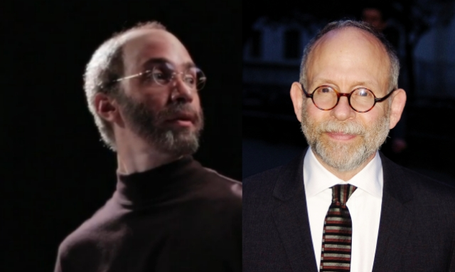 Left: Justin Long as Jobs. Right: Bob Balaban as Justin Long as Steve Jobs