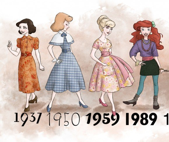 Disney Princesses In The Fashions Of The Years Their Films Came Out The Mary Sue
