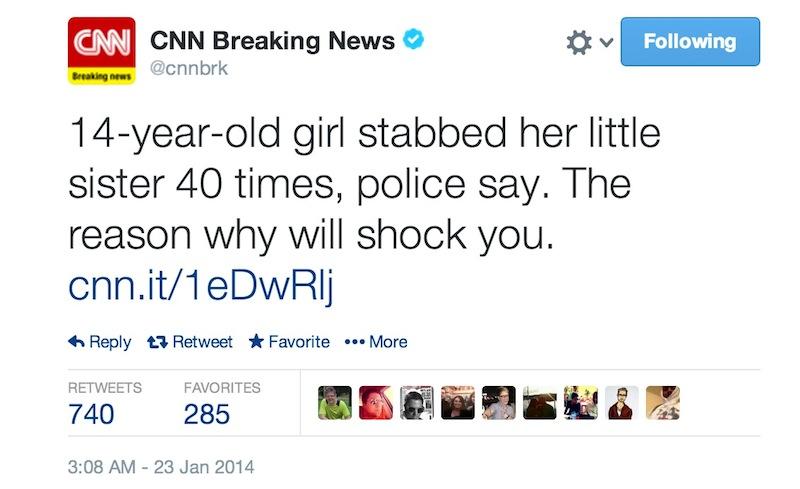 News Twitter: CNN Breaking News Tweets Upworthy Style For Murder Story
