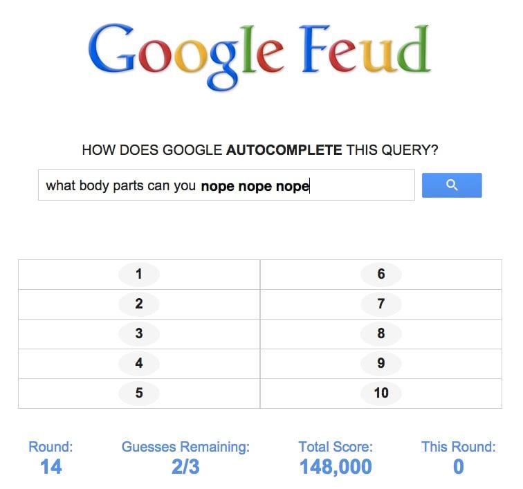 Google Feud Autocomplete Game