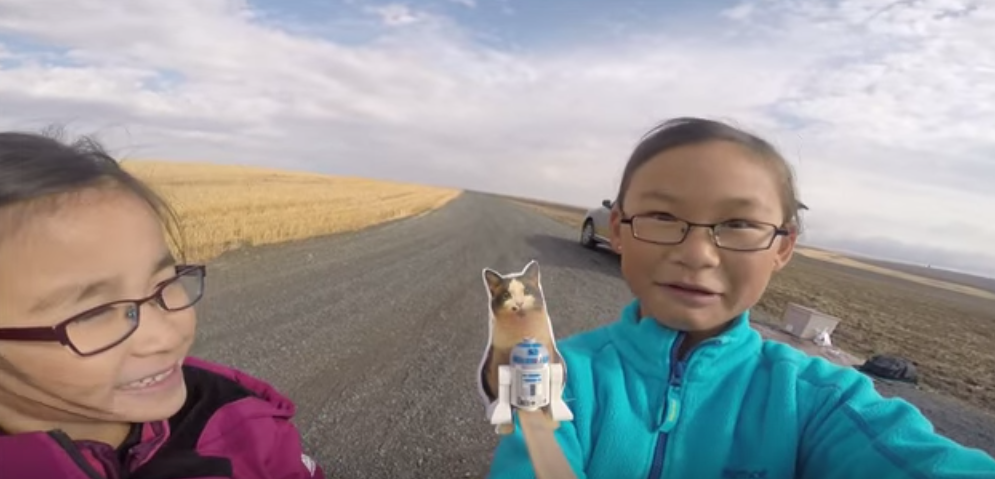 Adorable Sisters Launch Lego R2-D2 and a Picture of Their Cat to the Edge of Space