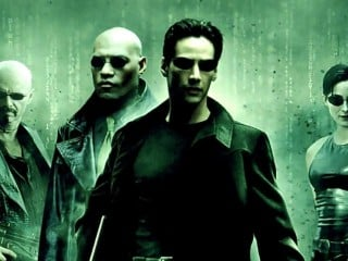 The Matrix poster featuring Neo, Trinity, and Morpheus