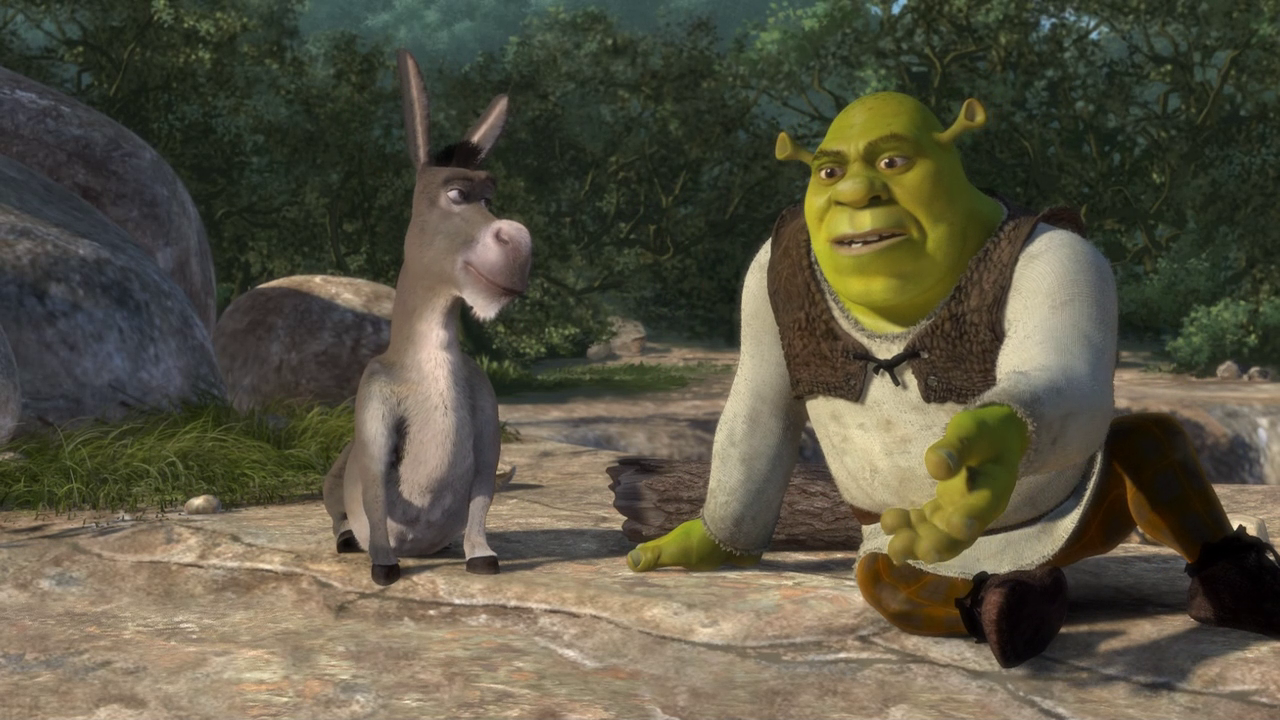 shrek the movie In the first shrek movie, during a conversation with donkey, he laments that he is constantly judged by the outside world the minute people meet him.