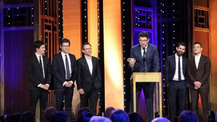 image: Sarah E. Freeman/Grady College/Peabody Awards/Flickr This photo includes Writer/ Co-Executive Producer Kyle Bradstreet, Writer Adam Penn, Actor Christian Slater, Creator/Executive Producer/Writer/Director Sam Esmail, Executive Producer Chad Hamilton and Actor Rami Malek accepting the Peabody for