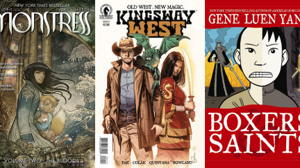 The covers for Monstress (Image), Kingsway West (Dark Horse), and Boxers and Saints (First Second)