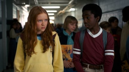 Sadie Sink (Max) and Caleb McLaughlin (Lucas) in a Netflix production still from Stranger Things 2