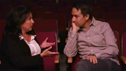 image: screencap Lin-Manuel Miranda and his high school theater adviser Gina Nocero McCort Hunter College High School