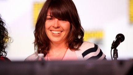 image: Gage Skidmore/Flickr Megan Ganz speaking at the 2012 San Diego Comic-Con International in San Diego, California.