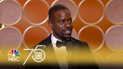 Thumbnail of NBC's YouTube video of Sterling K. Brown's 2018 Golden Globes acceptance speech