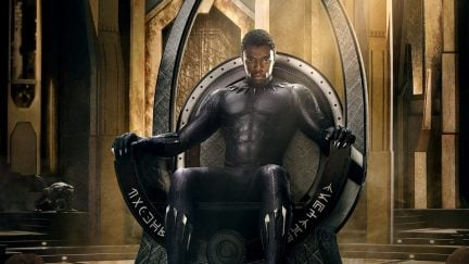 Cropped image of Chadwick Boseman as T'Challa on one of Marvel's
