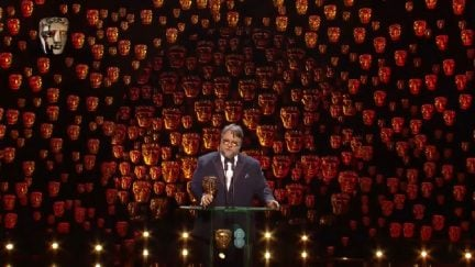 Screengrab of Guillermo del Toro's Best Director acceptance speech at the BAFTA Awards