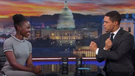 Lupita Nyong'o and Trevor Noah on The Daily Show