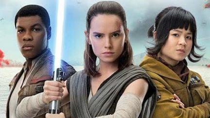 Daisy Ridley as Rey, John Boyega as Finn, and Kelly Marie Tran as Rose Tico in Star Wars: The Last Jedi