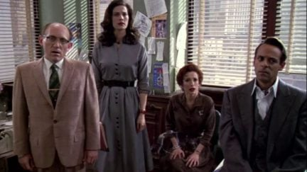 Armin Shimerman, Terry Farrell, Nana Visitor, Alexander Siddig in a scene from