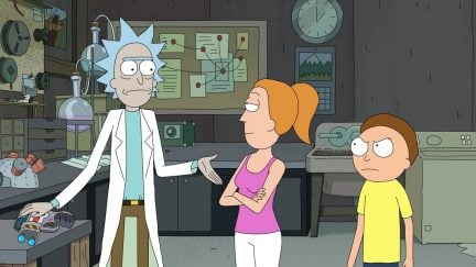 Still of Rick, Summer, and Morty from Season 3 of