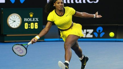 Serena Williams plays tennis at the 2017 Australian Open. Source: Shutterstock