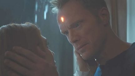 Screengrab of Paul Bettany as Vision and Elizabeth Olsen as Scarlet Witch/Wanda Maximoff in