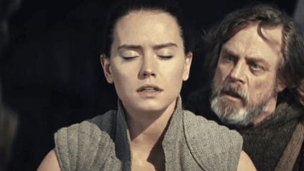 Daisy Ridley as Rey and Mark Hamill as Luke in Star Wars: The Last Jedi