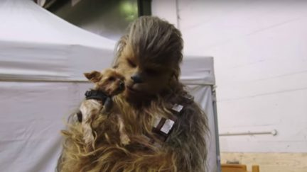 Chewbacca and friend on the set of 'Solo A Star Wars Story'