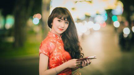 woman wearing qipao