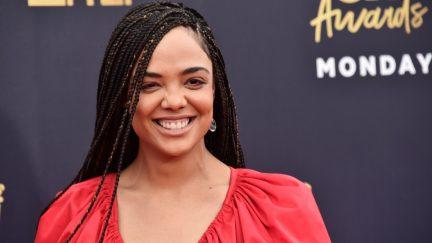Tessa Thompson attends the 2018 MTV Movie And TV Awards at Barker Hangar on June 16, 2018 in Santa Monica, California.
