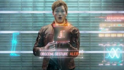 Chris Pratt as Peter Quill a.k.a. Star-Lord sticks up his middle finger in Marvel's Guardians of the Galaxy (image: Marvel Entertainment)