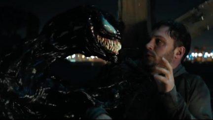 Venom menacing Eddie Brock in Venom movie.