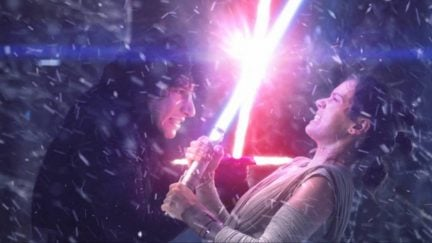 Star Wars: The Force Awakens sees Daisy Ridley's Rey locked in combat with Adam Driver's Kylo Ren