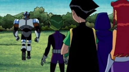 Teen Titans watch cyborg walk away.