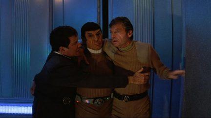 Star Trek V: The Final Frontier stars William Shatner, Leonard Nimoy, and DeForest Kelley