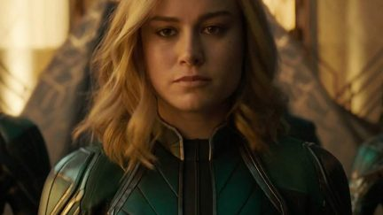Brie Larson as Captain Marvel in the movie of the same name.