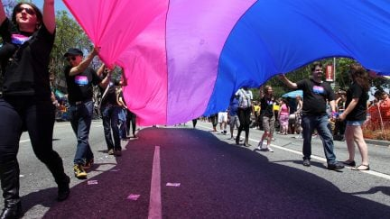 WEST HOLLYWOOD, CA - JUNE 09: People marching with anBi, a bisexual organization, carry a bisexual flag in the 43rd L.A. Pride Parade on June 9, 2013 in West Hollywood, California. More than 400,000 people are expected to attend the parade in support of lesbian, gay, bisexual and transgender communities. (Photo by David McNew/Getty Images)