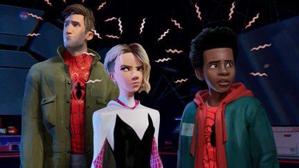 Jake Johnson, Hailee Steinfeld, and Shameik Moore in Spider-Man- Into the Spider-Verse (2018)