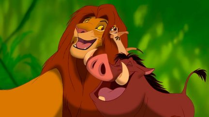 simba, timon, and pumba in The Lion King