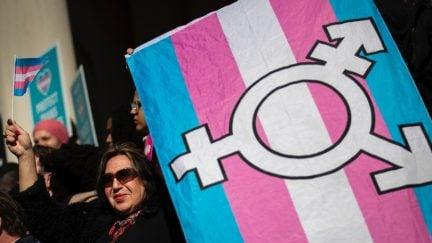 Protestor carries a transgender flag.