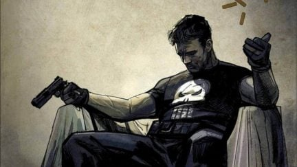 Comic panel of the Punisher sitting in a chair, holding a gun, looking sad.