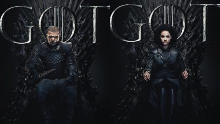 Missandei and Grey Worm upon the Iron Throne for new GOT series finale promo