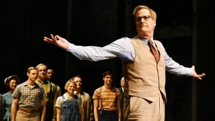 Jeff Daniels takes a bow during curtain call after the opening night performance of
