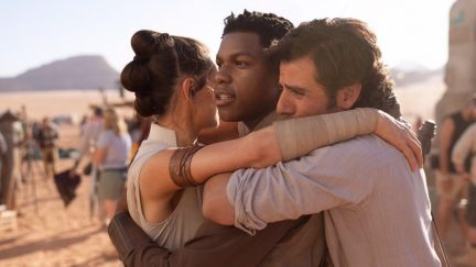 JJ Abrams shared an emotional photo of Daisy Ridley, John Boyega, and Oscar Isaac to celebrate Episode IX wrapping.