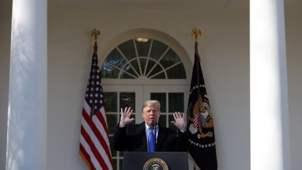 Donald Trump speaks on border security during a bizarre Rose Garden event at the White House
