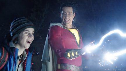 Zachary Levi and Jack Dylan Grazer as Shazam and Freddy Freeman in DCEU's Shazam.